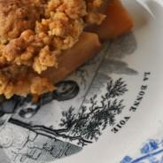 Crumble  pomme, poire, coing , rapadura et sablés bretons